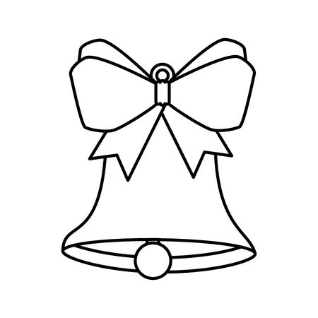 bell christmas decoration with bow ribbon line style icon vector illustration design
