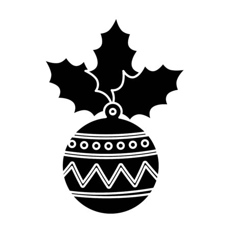silhouette of ball christmas with leafs isolated icon vector illustration design