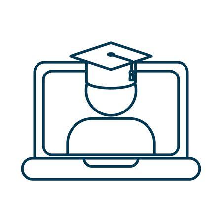 Étudiant diplômé avec chapeau dans la conception d'illustration vectorielle pour ordinateur portable