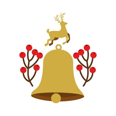 bell christmas decoration with reindeer and branches vector illustration design Ilustrace