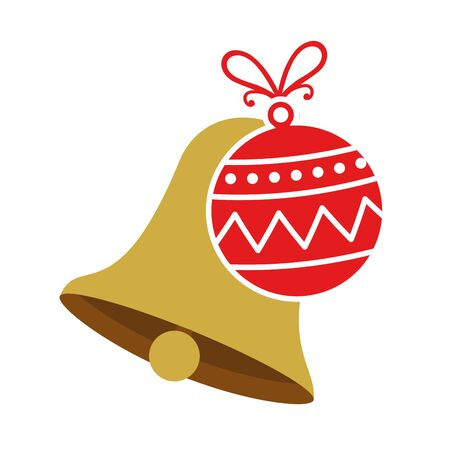 bell with ball christmas decoration isolated icon vector illustration design 向量圖像