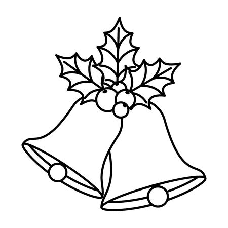 bells christmas with leafs and seeds line style icon vector illustration design