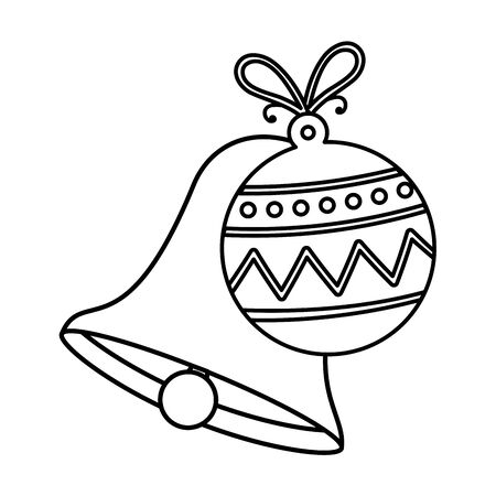 bell with ball christmas decoration line style icon vector illustration design