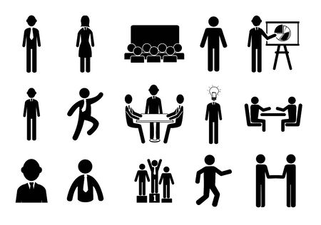 bundle of silhouette business people avatar character vector illustration design Illustration