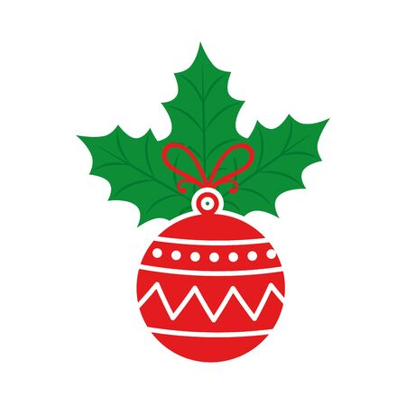 ball christmas with leafs isolated icon vector illustration design