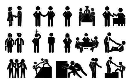 bundle of silhouette business people avatar character vector illustration design Çizim