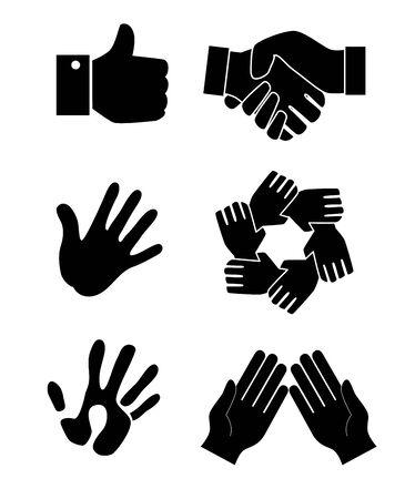 bundle silhouette of hands teamwork vector illustration design