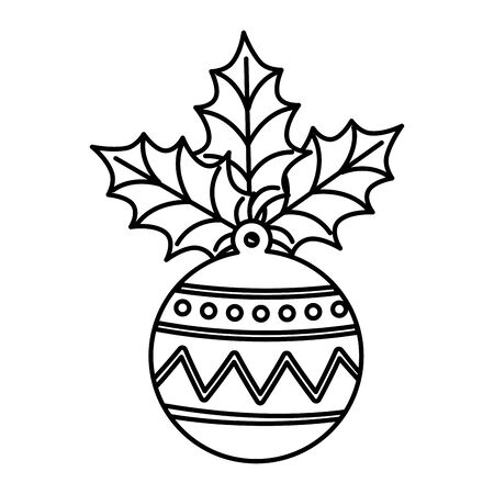 ball christmas with leafs line style icon vector illustration design Imagens - 133980831