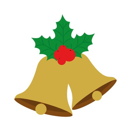 bells christmas with leafs and seeds vector illustration design Ilustrace