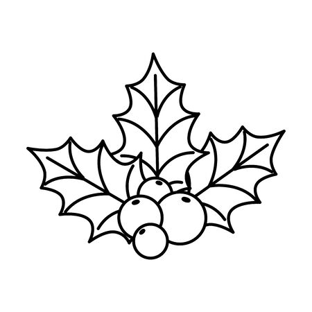 leafs with seeds decoration christmas line style icon vector illustration design