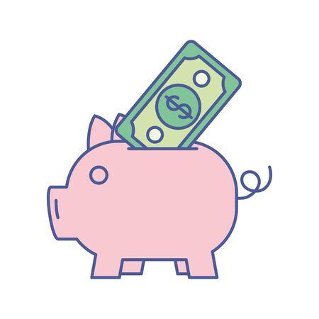 piggy with bill money dollar vector illustration design Foto de archivo - 134029185