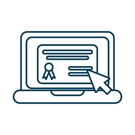 graduation diploma in laptop computer vector illustration design Ilustração