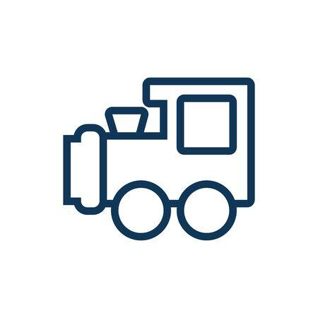 Diseño lindo del ejemplo del vector del icono del estilo de la línea del juguete del niño del tren