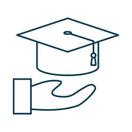 hand lifting graduation hat icon vector illustration design Stock fotó - 134029219