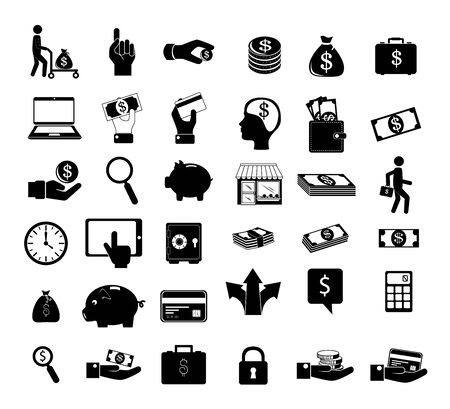 bundle silhouettes of finance set icons vector illustration design Ilustrace