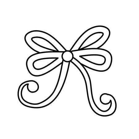 bow ribbon christmas line style icon vector illustration design