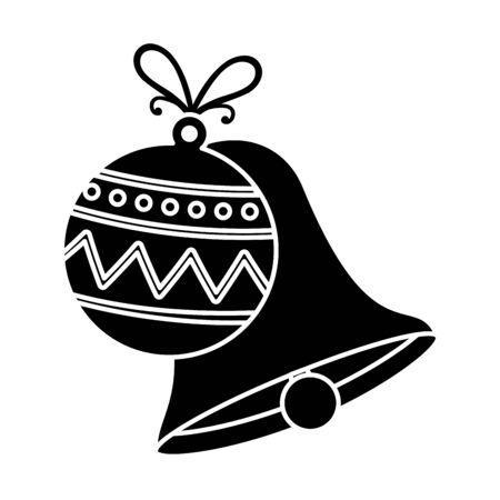 silhouette of bell with ball christmas decoration isolated icon vector illustration design