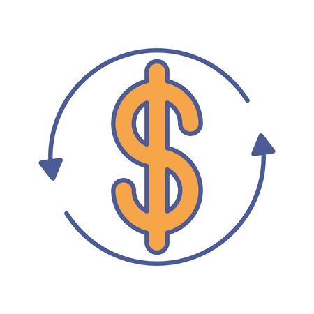 money dollar symbol with arrows around vector illustration design