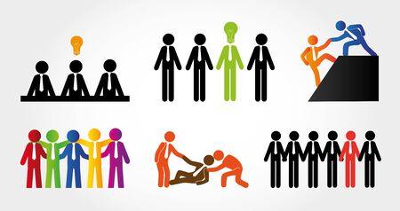 bundle of silhouette business people avatar character vector illustration design 일러스트