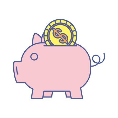 piggy savings with coin money dollar vector illustration design