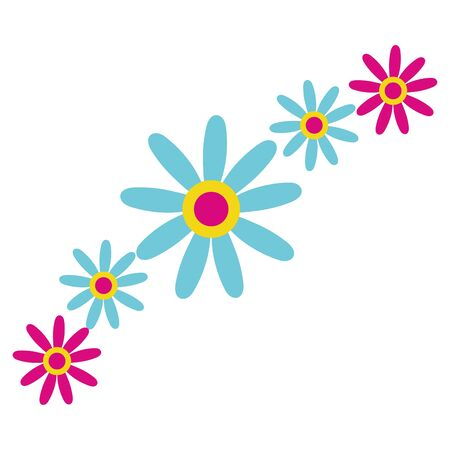 beautiful flowers garden decorative icons vector illustration design