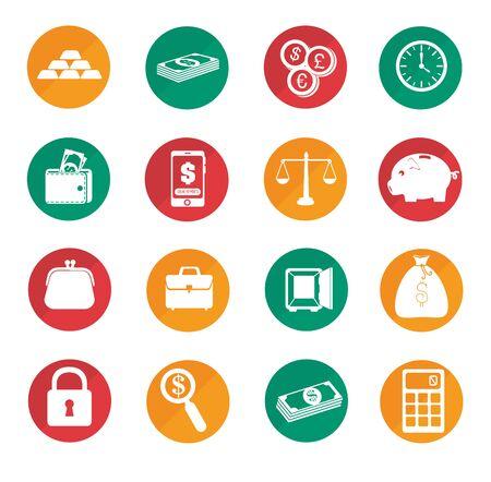 Paquete de iconos de conjunto de negocios, diseño de ilustraciones vectoriales