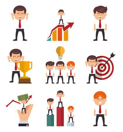 bundle of businessman with set icons vector illustration design