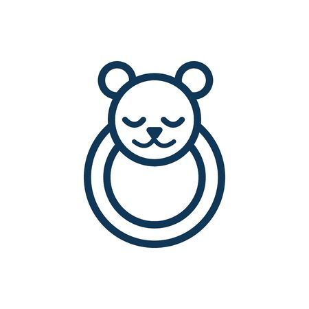 cute bear head child toy line style icon vector illustration design 일러스트