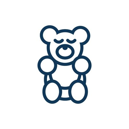 bear teddy child toy line style icon vector illustration design