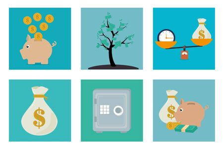 bundle of finance set icons vector illustration design