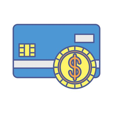 credit card money with coin vector illustration design
