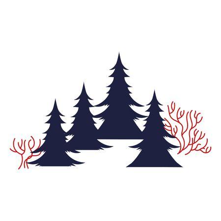 pines trees forest winter scene vector illustration design