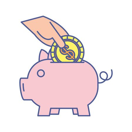piggy savings with coin money dollar vector illustration design Vektoros illusztráció