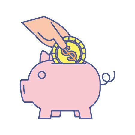 Sparschwein mit Münzgeld-Dollar-Vektor-Illustration-Design Vektorgrafik