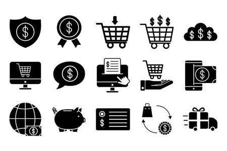 bundle of money and commerce icons vector illustration design
