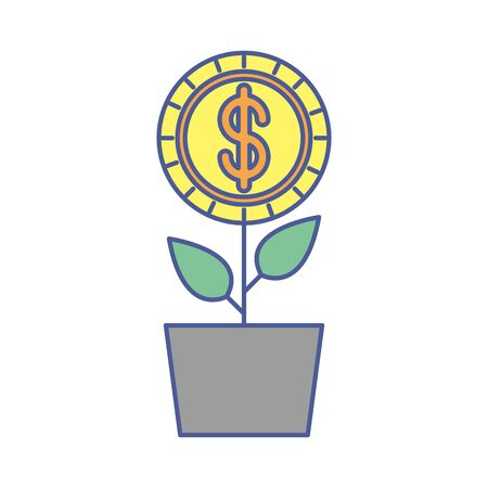 plant with coin money dollar vector illustration design