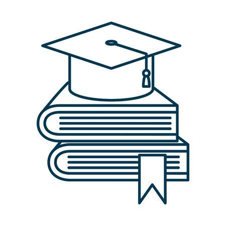 graduation hat in pile textbooks vector illustration design Ilustración de vector