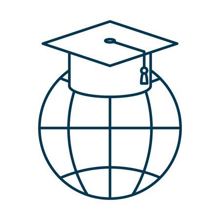 sphere planet browser with graduation hat vector illustration design