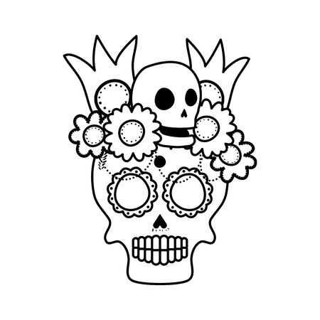 skull mask with floral decoration head icon vector illustration design