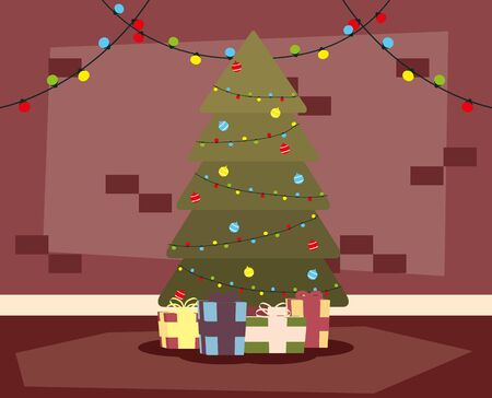 happy mery christmas house place with tree and gifts scene vector illustration design 일러스트