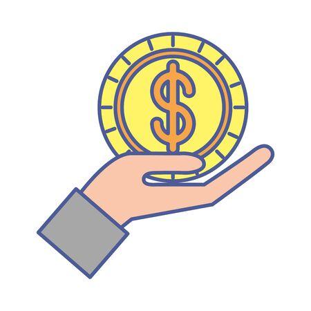Hand mit Münzgeld-Dollar-Vektor-Illustration-Design Vektorgrafik