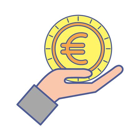 hand lifting money coin euro vector illustration design