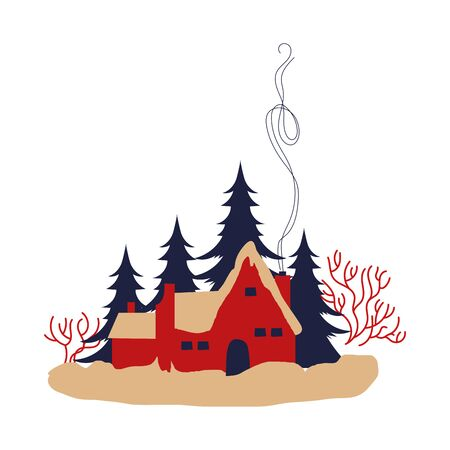 cute house and pines trees forest winter scene vector illustration design
