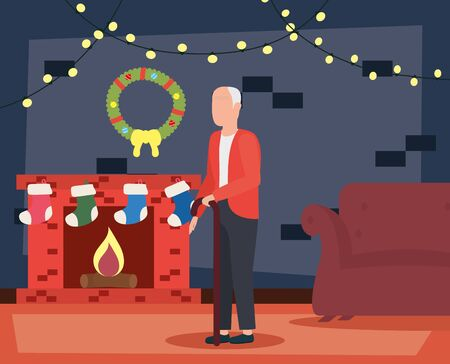 grandfather in livingroom with christmas decoration vector illustration design