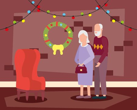 grandparents couple in house place with christmas decoration vector illustration