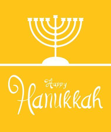 happy hanukkah celebration lettering with chandelier vector illustration design Ilustração
