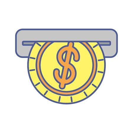 coin money dollar with atm hole vector illustration design