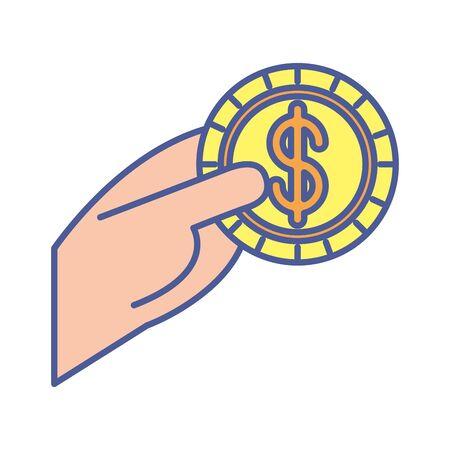 Hand mit Münzgeld-Dollar-Vektor-Illustration-Design