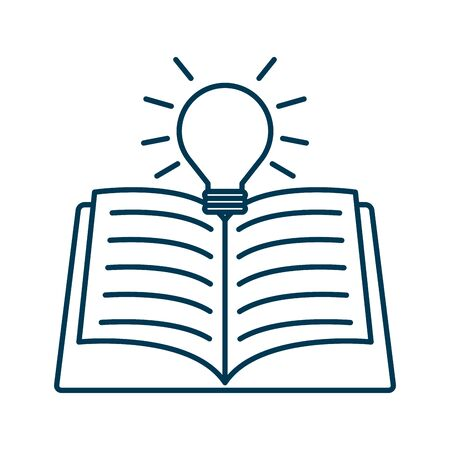 education text book with bulb vector illustration design