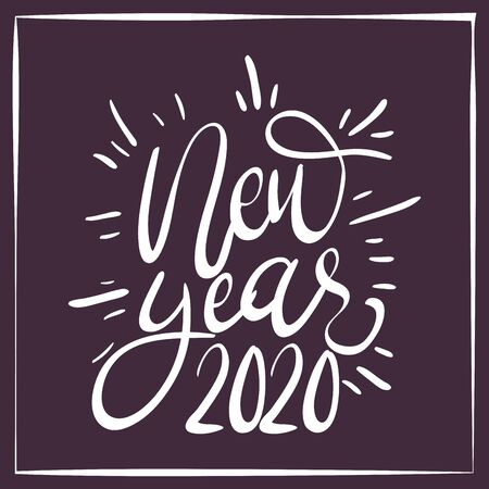 happy new year lettering celebration vector illustration design